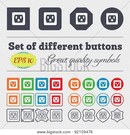 Electric Plug, Power Energy Icon Sign. Big Set Of Colorful, Diverse, High-quality Buttons. Vector