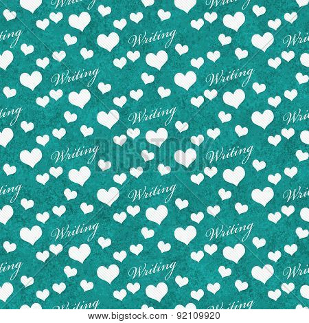 Teal And White I Heart Writing Tile Pattern Repeat Background