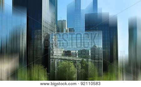 Abstract Background. View Of The Business Center Of Paris. Blur Effect Defocusing Filter Applied, Wi