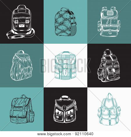 Set of different hiking backpack.