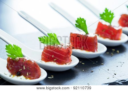 Tuna Appetizers On Ceramic Spoons.