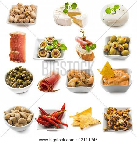 photo collage of spanish tapas  isolated on white