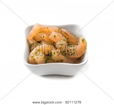 bowl of peeled natural shrimps in a bowl