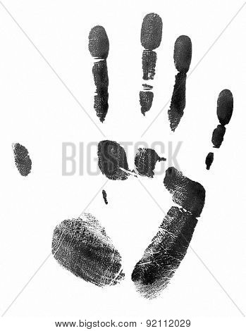 Black print of human palm isolated on white