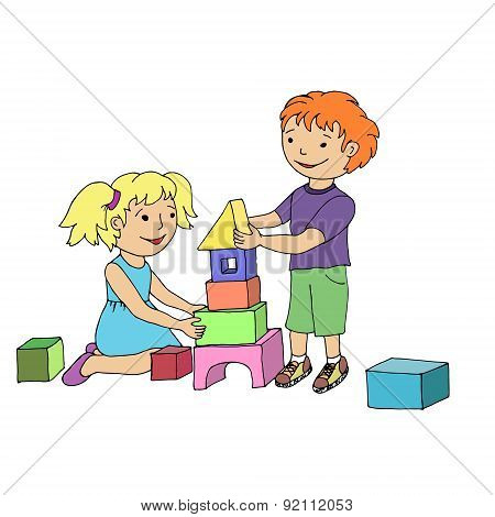 Little Girl And Boy Playing With Toy Blocks.
