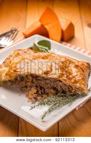strudel stuffed with chopped meat pumpkin and herbs, selective focus