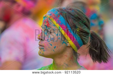 PRAGUE, CZECH REPUBLIC - MAY 30: People attend the Color Run on May 30, 2015 in Prague, Czech rep. The Color Run is a worldwide hosted fun race with about 12000 competitors in Prague.