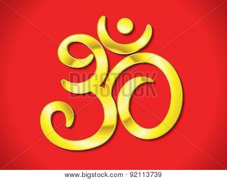 Abstract Artistic Golden Om Text