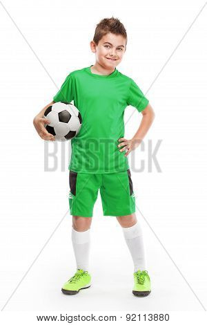 Standing Young Soccer Player Holding Football