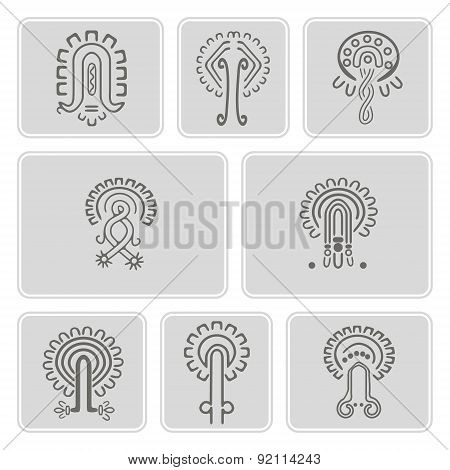 set of monochrome icons with American Indians relics dingbats characters  (part 11)