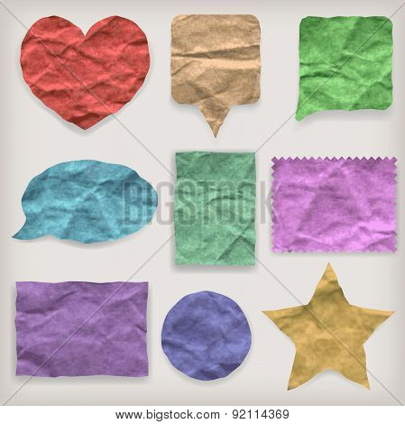 Labels Or Symbols Of Colored Crumpled Paper