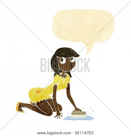 cartoon cinderella scrubbing floors with speech bubble