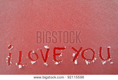 Picture Of A Frost Surface With Text I love you