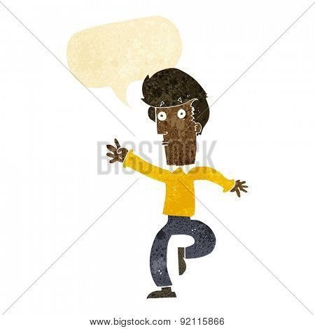 cartoon rushing man with speech bubble