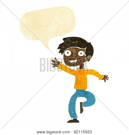 cartoon excited boy dancing with speech bubble