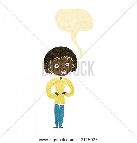 cartoon woman gesturing at self with speech bubble
