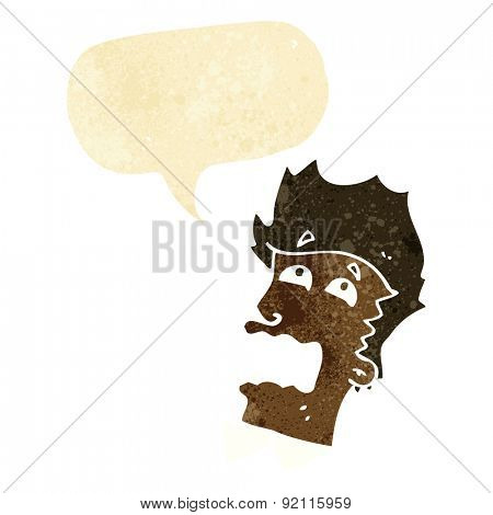 cartoon frightened man with speech bubble