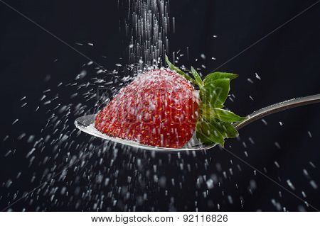Sugar Rain Sprinkle Over Delicious Strawberry On Spoon Spilling Out Everywhere