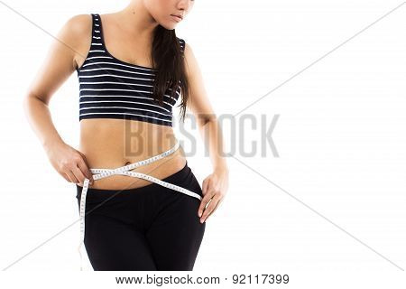 Slim Girl With Measuring Tape Isolated On White