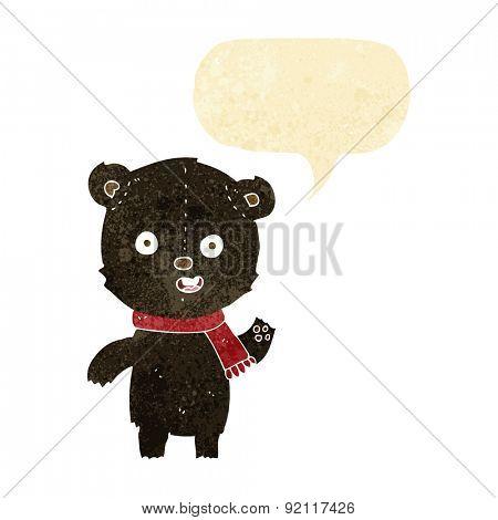 cartoon waving black bear cub with scarf with speech bubble