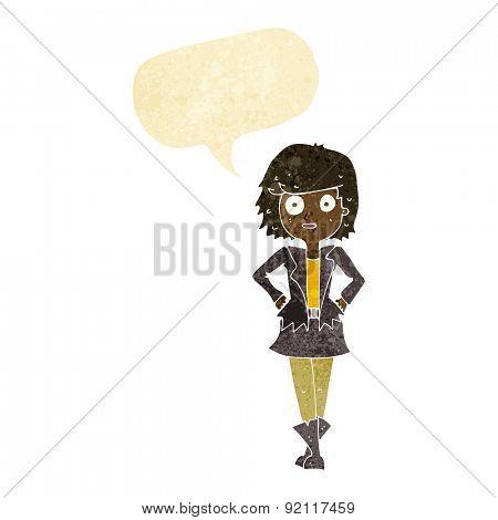 cartoon girl in jacket with speech bubble