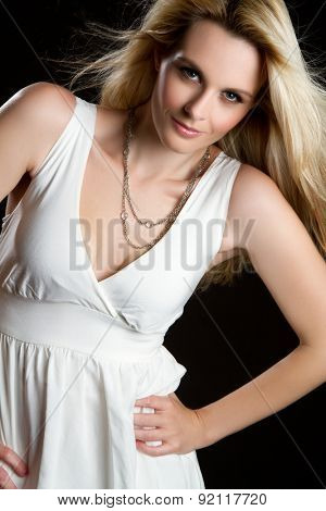 Beautiful pretty blond fashion woman