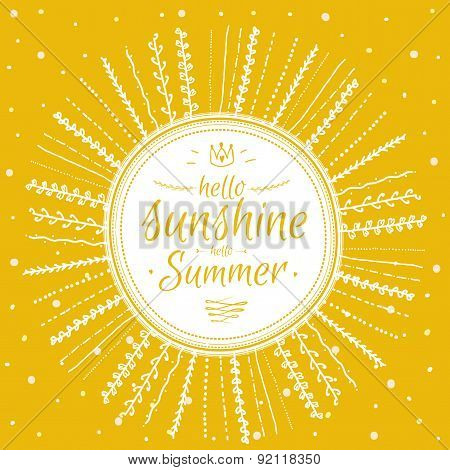 Summer card with cute sun and motivational typographic