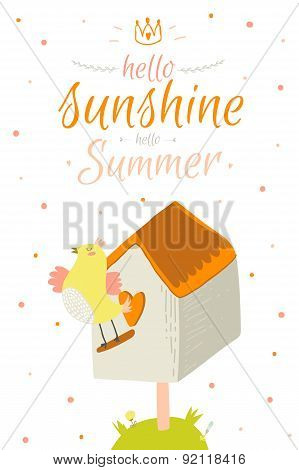 Cute summer card with character vector illustration and typographic