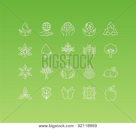 Vector Set Of 20 Icons And Sign In Mono Line Style