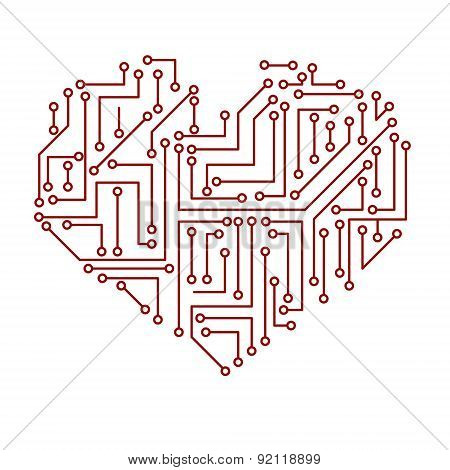 Printed Electrical Circuit Board Heart Symbol Eps10