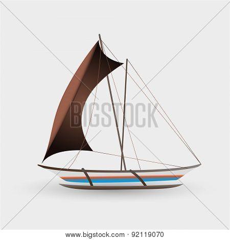 Catamaran Boat With Big Sail Colorful Graphics Eps10