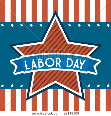 labor day over stripes background vector illustration