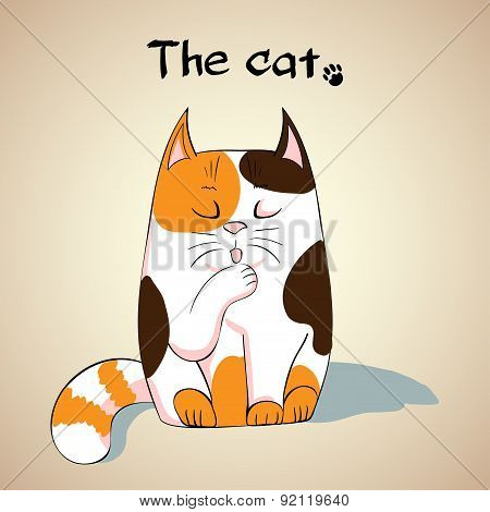 Illustration of Cute cat licking its paw