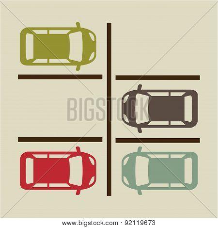 parking signal over  beige background vector illustration
