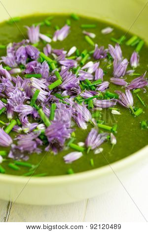 Swiss Chard And Potato Cream Soup Chopped Chives With Flowers