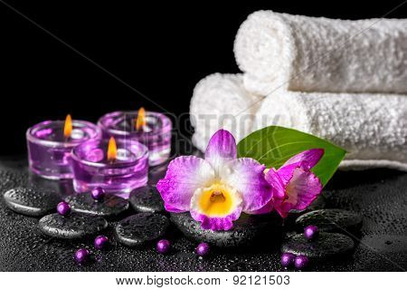 Spa Background Of Purple Orchid Dendrobium, Green Leaf With Drops, Towels, Candles And Pearl Beads O