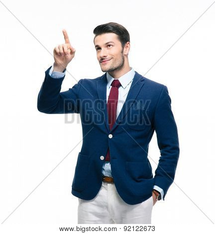 Handsome businessman pointing finger up isolated on a white background