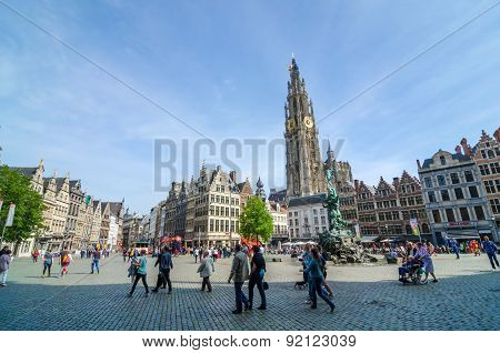 Antwerp, Belgium - May 10, 2015: Tourist Visit The Grand Place In Antwerp.