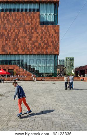 Antwerp, Belgium - May 10, 2015: People Visit Museum Aan De Stroom