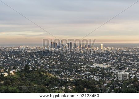 Late afternoon view of downtown Los Angeles from Griffith Park in Southern California.
