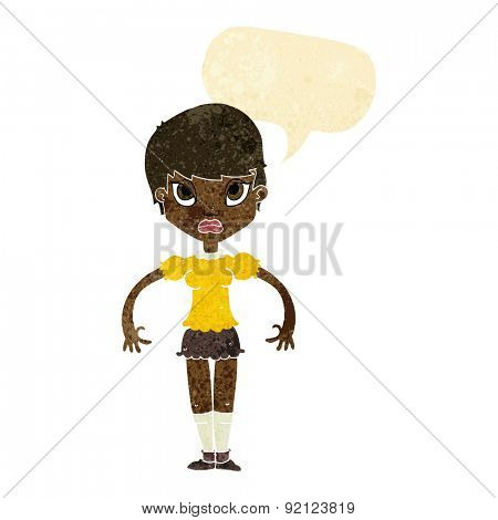 cartoon woman looking annoyed with speech bubble