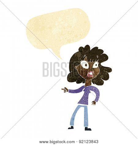 cartoon worried woman pointing with speech bubble