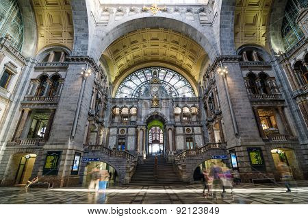 Antwerp, Belgium - May 11, 2015: People In Entrance Hall Of Antwerp Central Station.