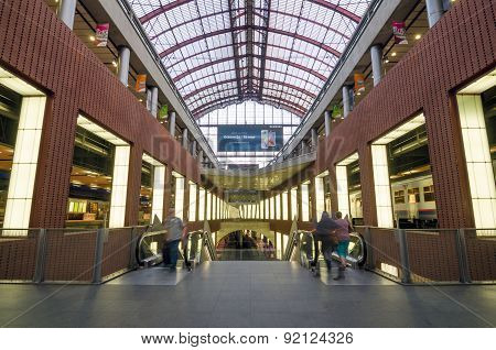 Antwerp, Belgium - May 11, 2015: People In Antwerp Central Railway Station.