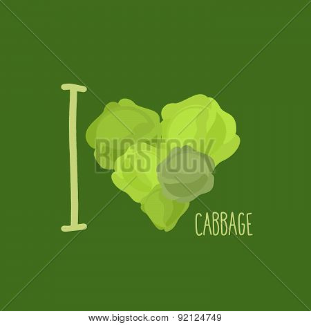 I love cabbage. Heart of green cabbage. Vector illustration