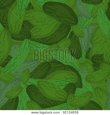Cucumber seamless pattern. Vector background green vegetable pickles