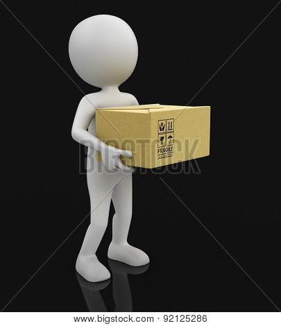 Man and package (clipping path included)