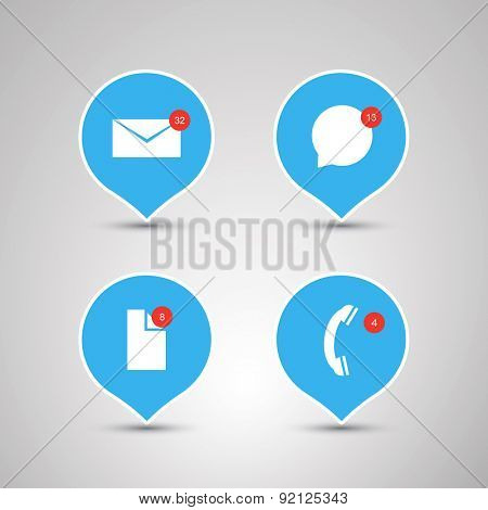 Speech Bubble Designs - Flat Design Concepts with Envelope, Speech Bubble, File and Phone Icons - Mobile App Concept