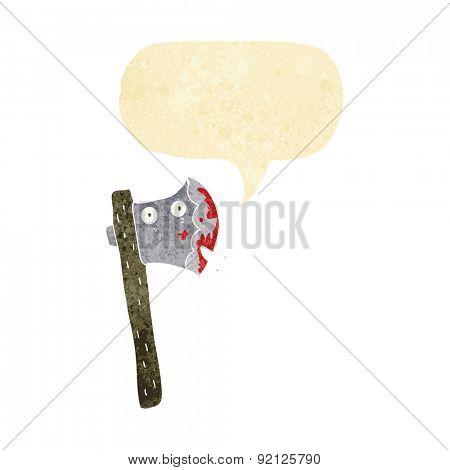 bloody cartoon axe with speech bubble