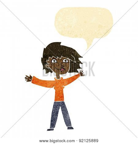 cartoon excited woman waving with speech bubble